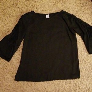 Time Tru Black blouse with open ties bell sleeves